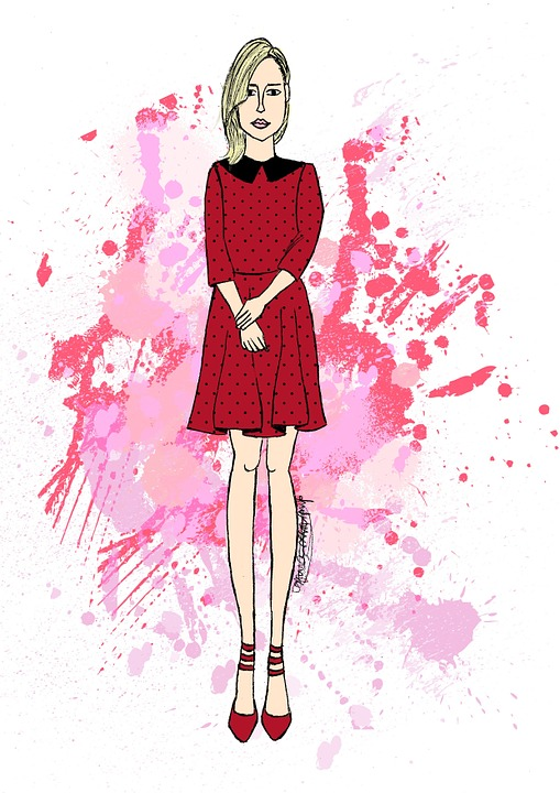 Drawing, Vector, Girl, Rosa, Red