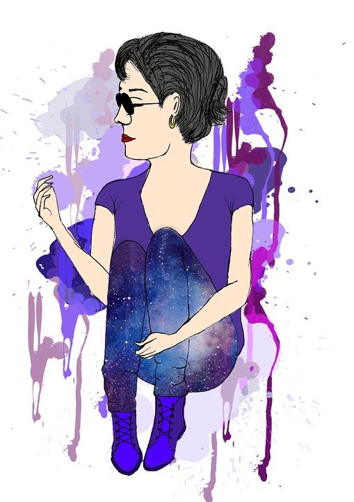 Drawing, Vector, Illustration, Woman, Purple