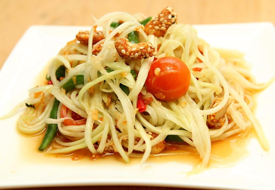 Food, Salad, Vegetable, Green Papaya Salad