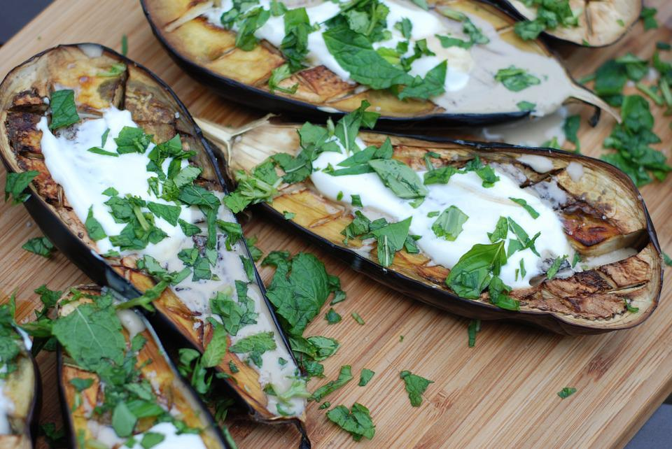 Eggplant, Roasted, Vegetable, Yoghurt, Tahini, Herbs