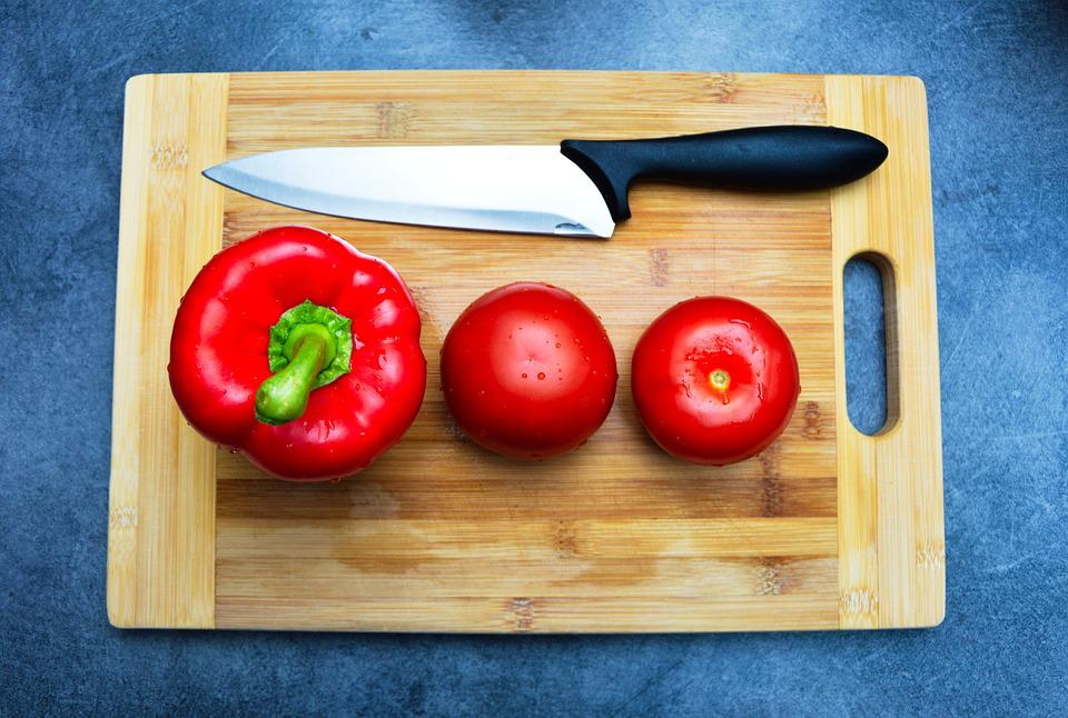 Pepper, Tomatoes, Cutting Board, Knife, Vegetables