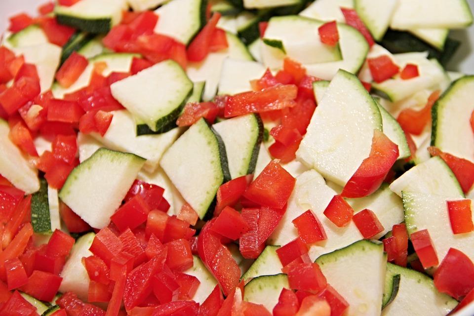 Vegetables, Zucchini, Paprika, Cut, Diced, Eat, Food
