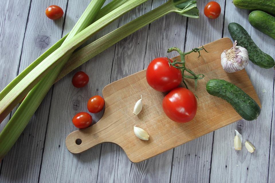 Vegetables, Cucumbers, Rhubarb, Tomatoes, Garlic