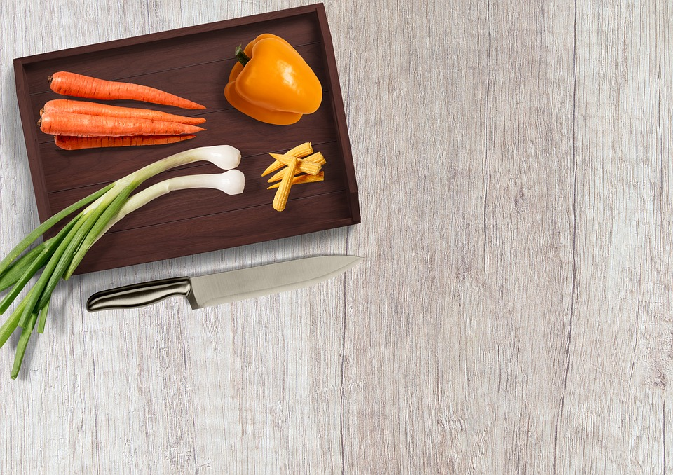 Knife, Vegetables, Table, Tray, Paprika, Carrots