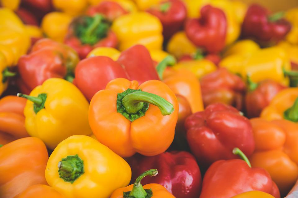 Peppers, Yellow Bell Peppers, Red, Orange, Vegetables