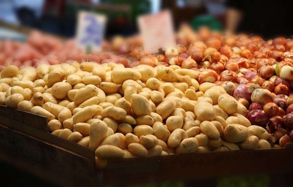 Potatoes, Onions, Vegetables, Market, Shop, Grocery