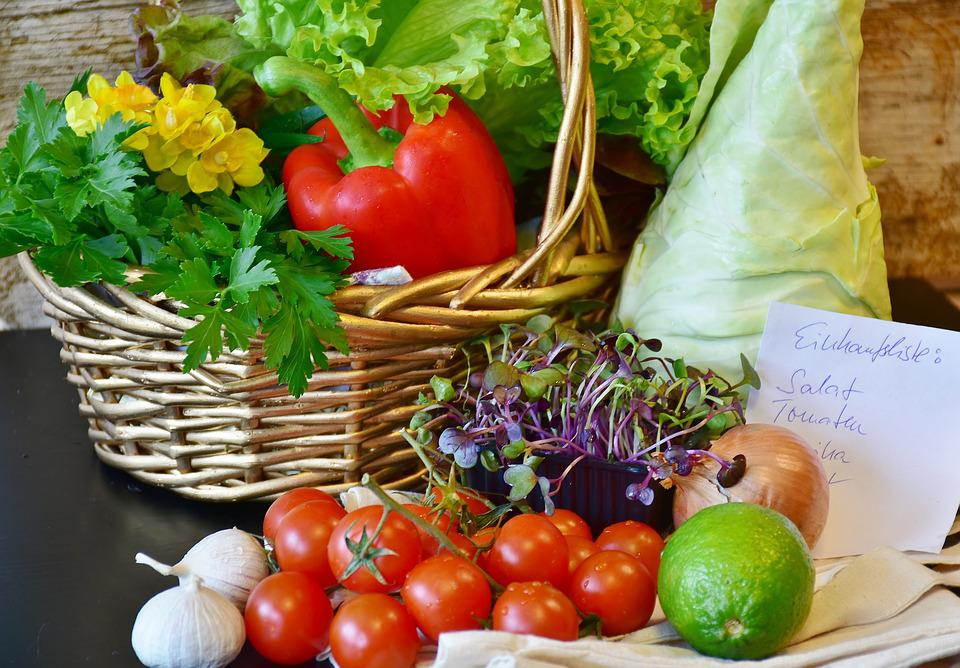 Vegetables, Basket, Purchasing, Market