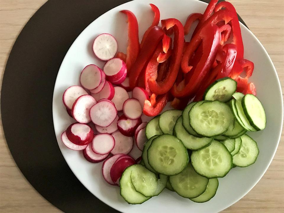 Vegetables, Food, Radishes, Red Pepper, Cucumbers