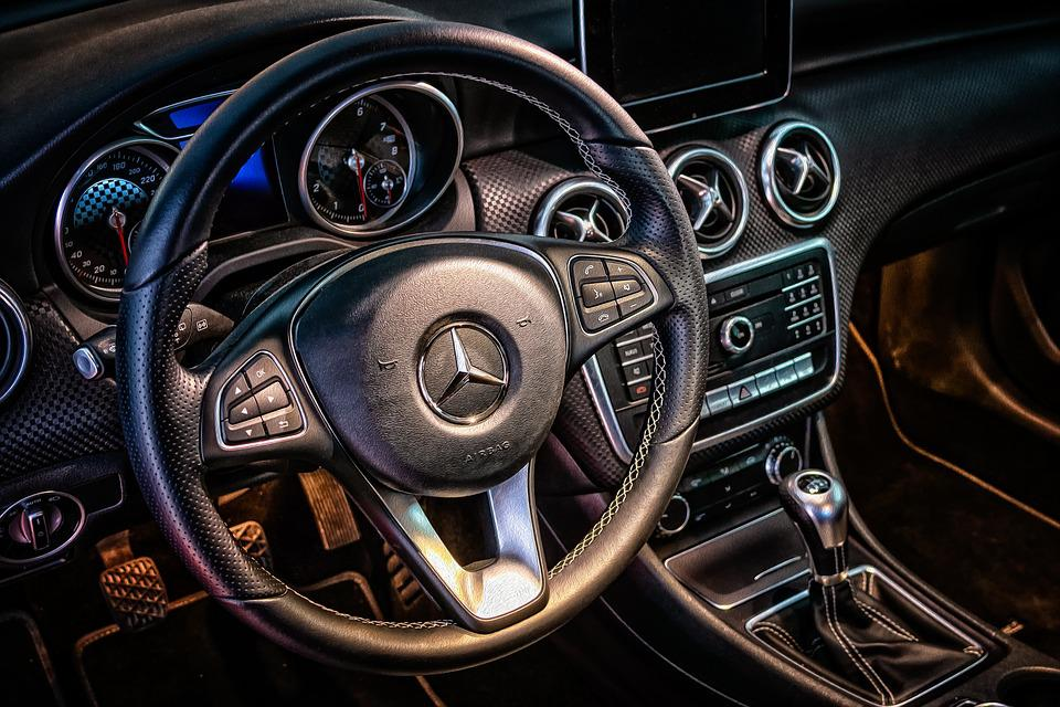 Dashboard, Car, Vehicle, Mercedes Benz, Steering Wheel