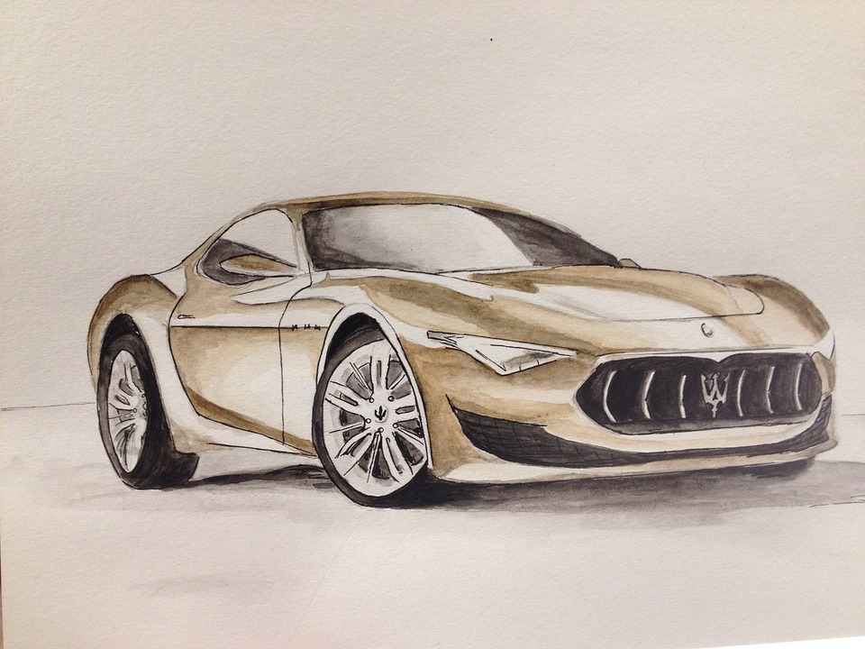 Luxury, Automobile, Vehicle, Drawing, Drive, Watercolor