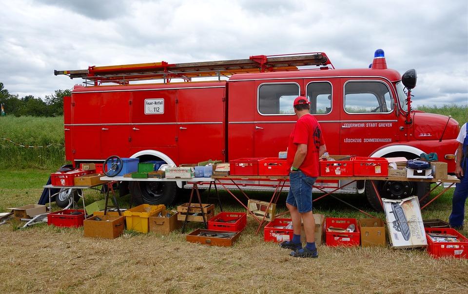 Fire, Flea Market, Red, Used, Man, Vehicle, Landscape