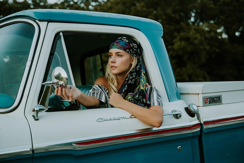 Woman, Truck, Vehicle, Driver, Fashion, Headscarf