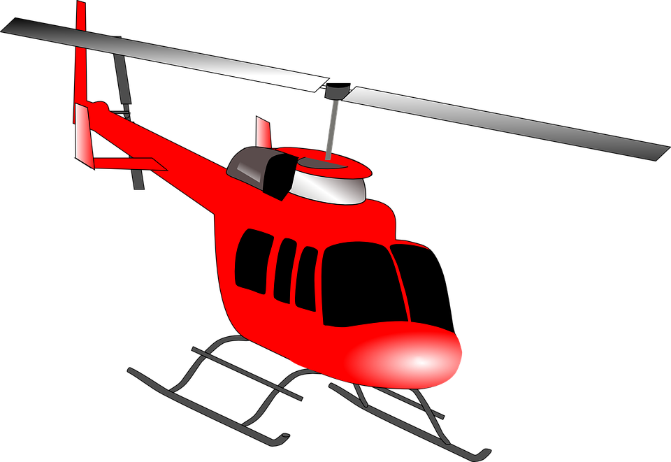 Helicopter, Rotors, Flying, Vehicle, Red