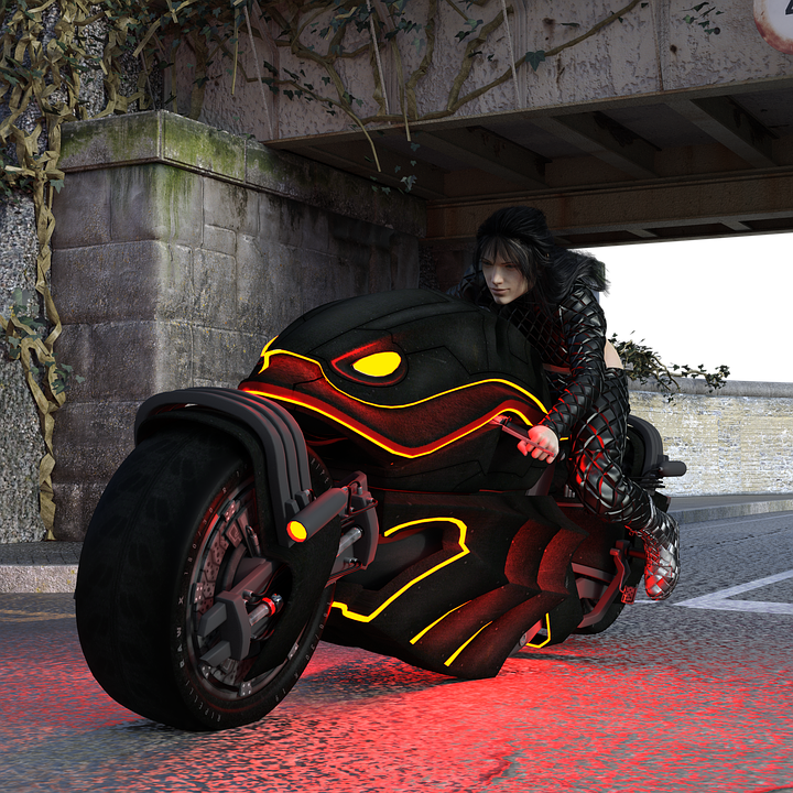 Motorcycle, Road, Vehicle, Futuristic, Spotlight
