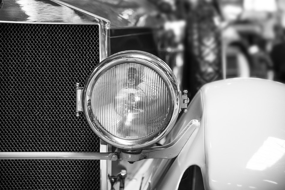 Spotlight, Auto, Oldtimer, Black And White, Vehicle