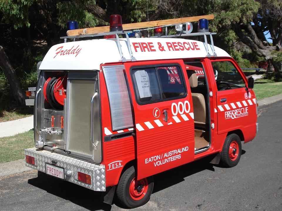Fire, Minibus, Red, Vehicles, Fire Truck