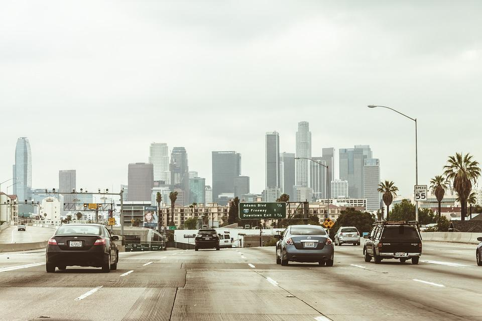 Highway, Cars, Traffic, Vehicles, Towers, Buildings