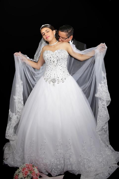 Wedding, Couple, Wedding Dress, Veil, Love, Romance