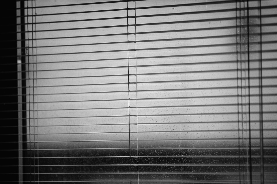 Venetian Blinds, Rainy Weather, Dark Time, Drops
