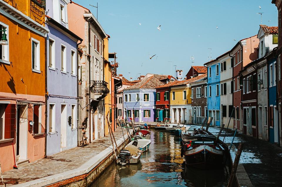 Colorful, Houses, Canal, Channel, Gondolas, Venice