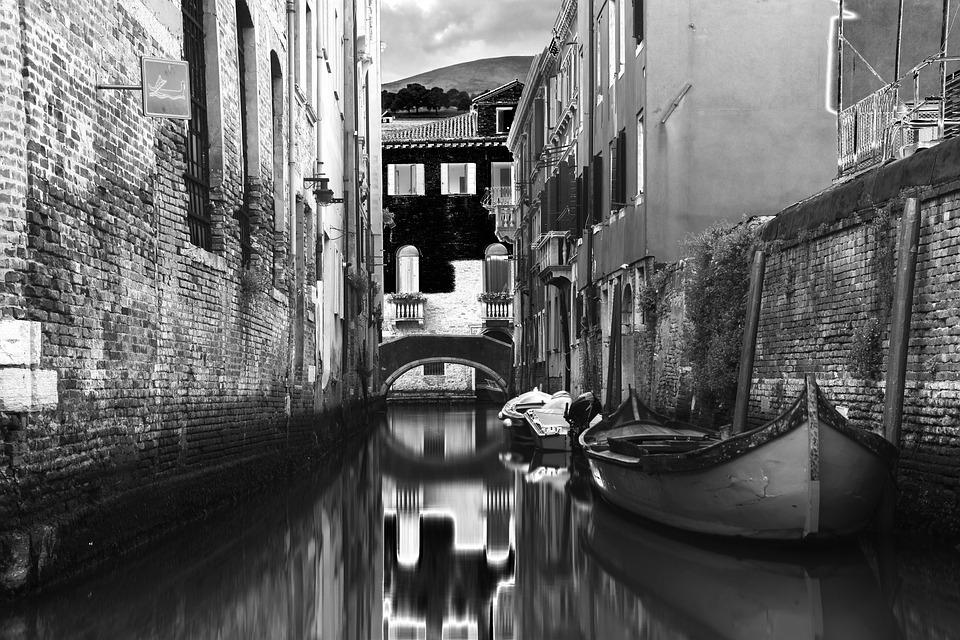 Venice, Italy, Black And White, Channel, Tourism
