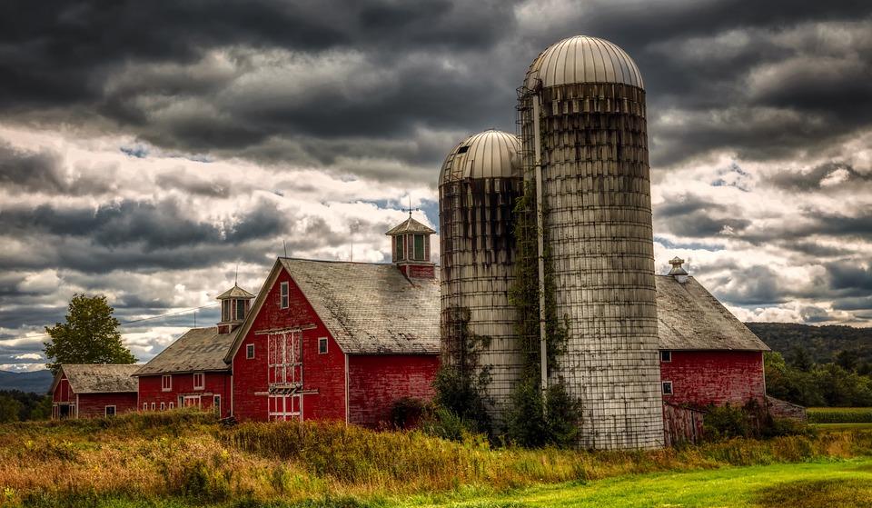 Vermont, New England, America, Farm, Sky, Clouds, Silos