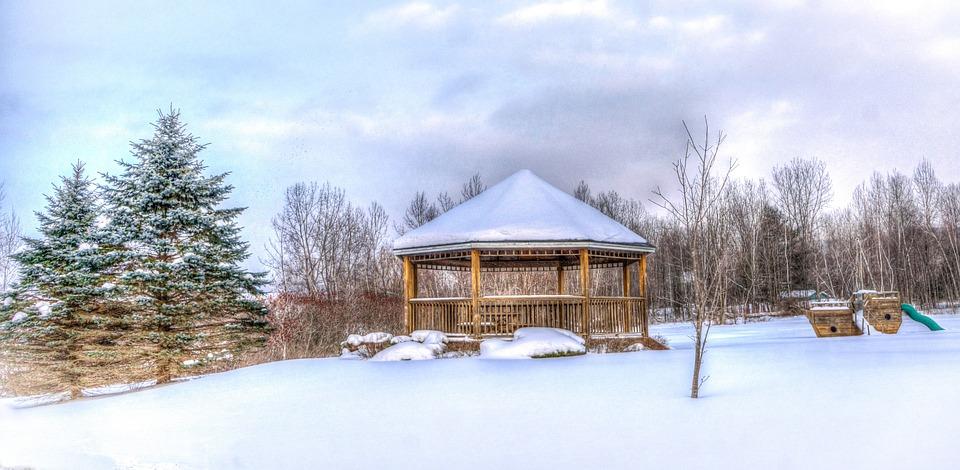Vermont, Snow, Winter, Nature, Gazebo, Ice, Landscape