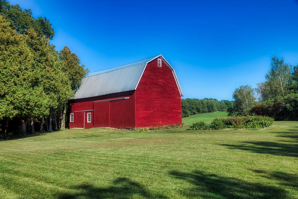 Red Barn, Vermont, New England, America, Hdr, Meadow