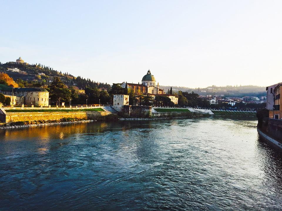Verona, Bridge, River, Adige, The River Adige, Vista
