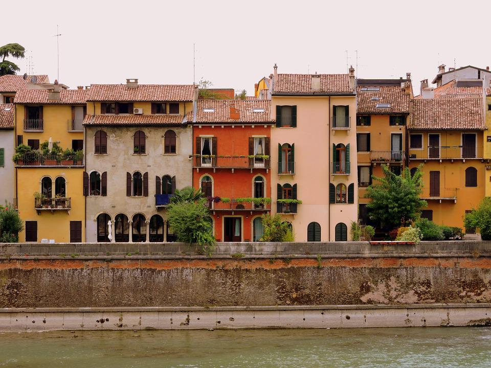 Houses, Colors, Verona, River, Adige, Veneto, Italy