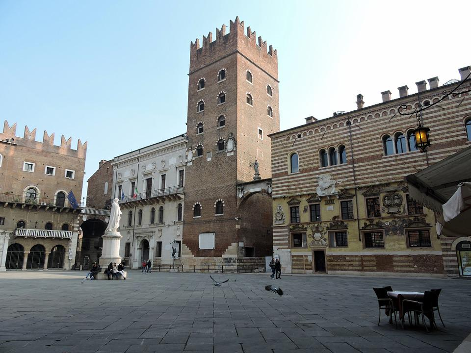 Piazza, Dante, Verona, Monument, Building, Ancient