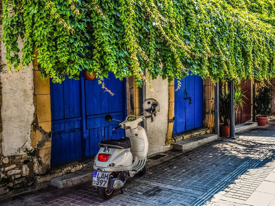 Cyprus, Limassol, Old Town, Street, Old House, Vespa
