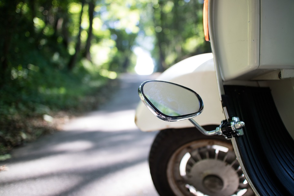Vespa, Road, Mature, Mirrors