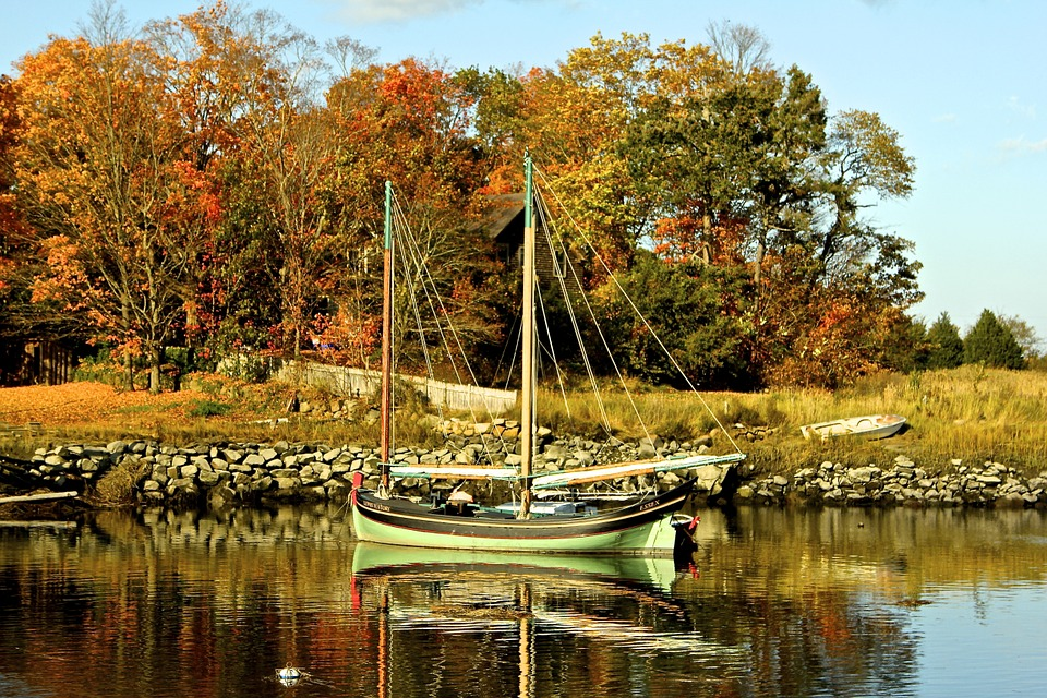 Sailboats, Boat, Vessel, Water, River, Fall, Autumn