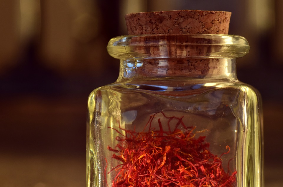Saffron, Red, Bottle, Glass, Vessel, Container, Cork