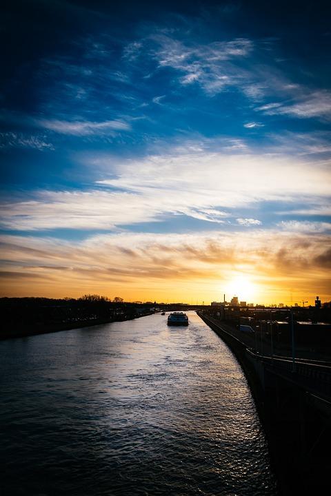 Boat, Sunrise, Water, Sky, Channel, River, Ship, Vessel