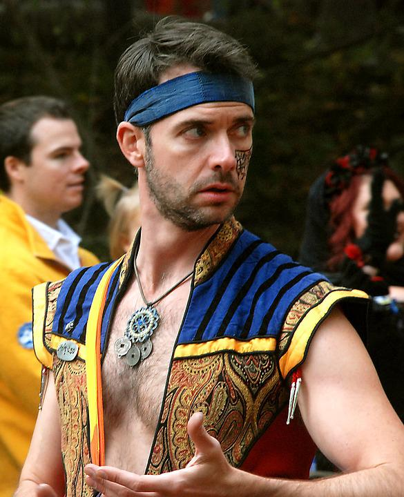Man, Dancer, Costume, Vest, Necklace, Chest, Colorful