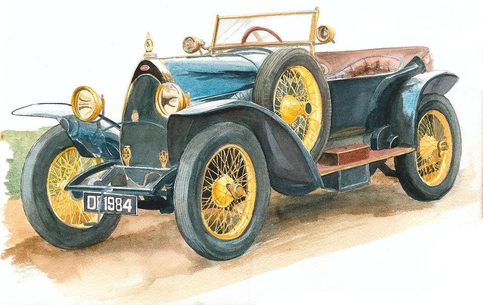 Bugatti, Watercolour, Vetaren, Car, Drawing, Retro