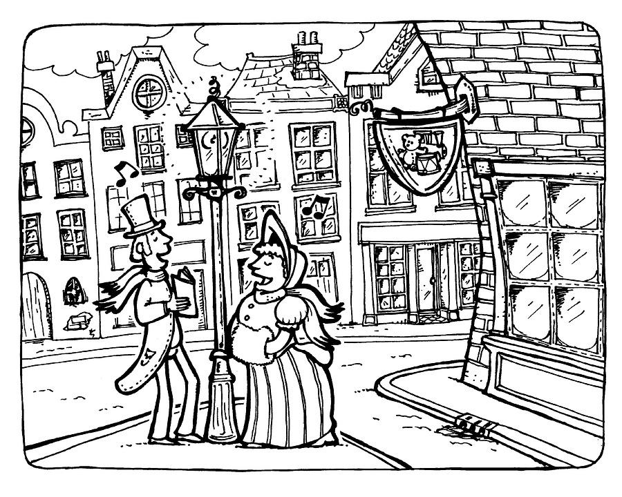 Carol Singers, Victorian, Street, Shops, Winter