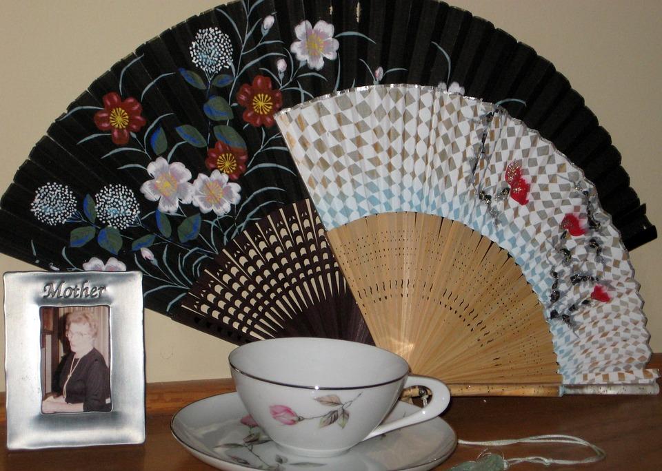 Fans, Antique, Cup, Saucer, Victorian, Vintage