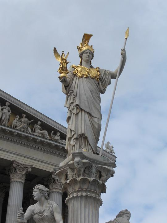 Justizia, Vienna, Austria, Parliament, Pillar, Statue