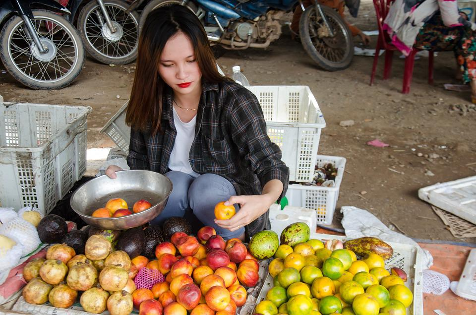 Buy Sale, Fair, Fruits, Girl, Asia, Vietnam