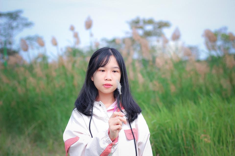 Woman, Field, Vietnam, Portrait, Young Woman, Grass