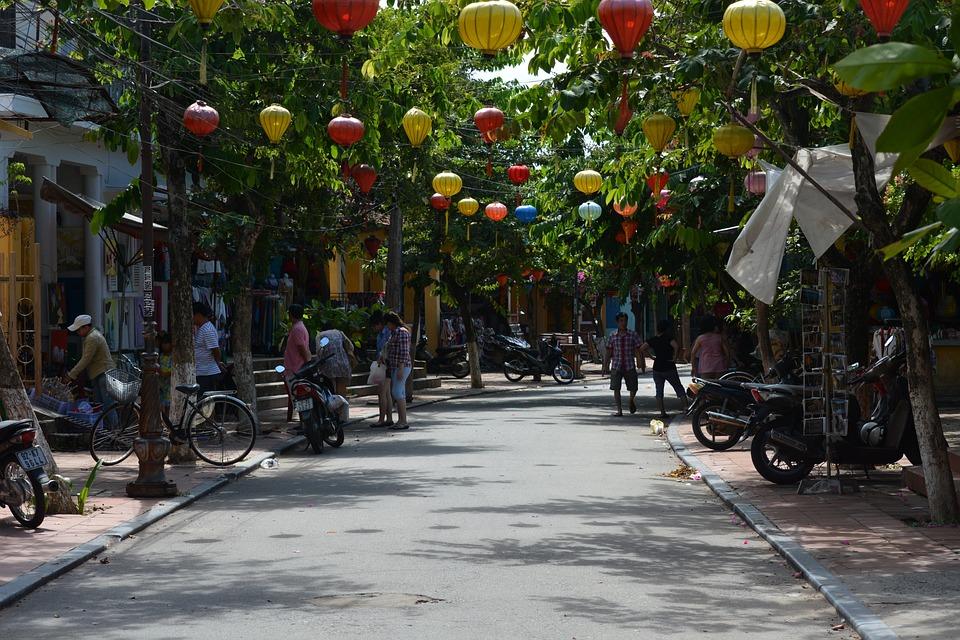 Hoi An, Vietnam, Road, Lampignon, Asia