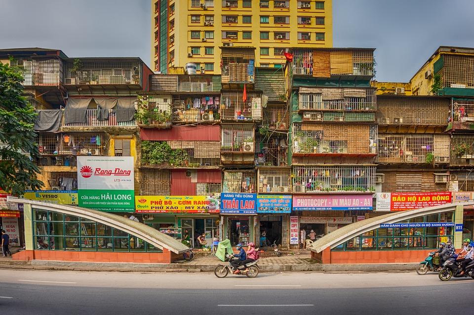 Ha Noi, Vietnam, City, Houses, Road, Bicycle, People