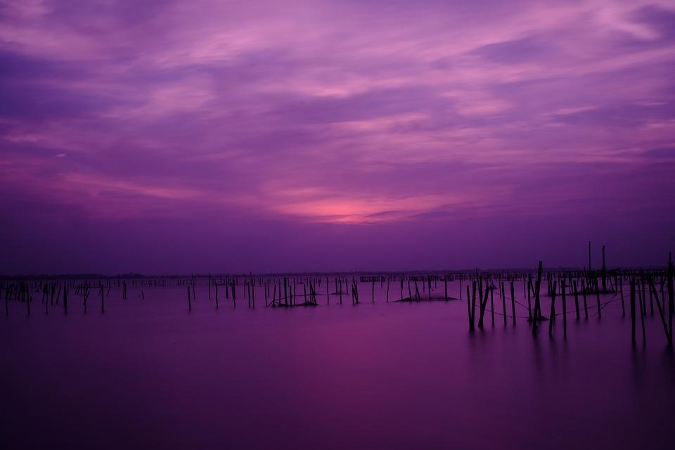 Sunset In Tam Giang Lagoon, Vietnam, Sunset