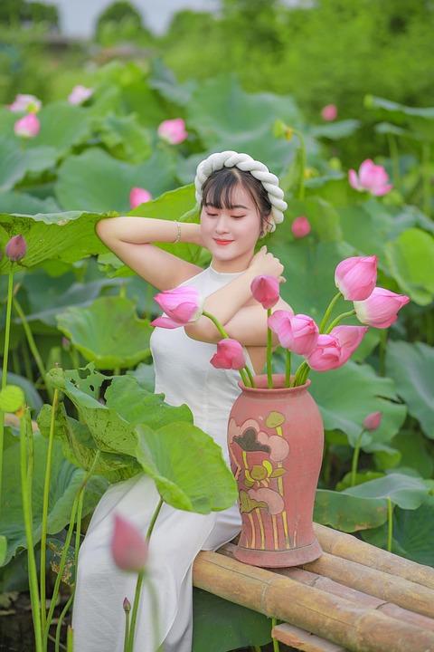 Girl, Dress, Lotus, Vietnamese, Flowers, Vase