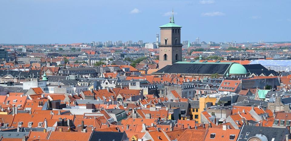 Copenhagen, Denmark, View, Rooftops, City, Day