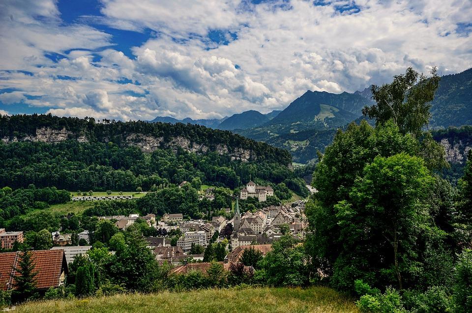 City, Clouds, Castle, View, Landscape, Feldkirch, Hill