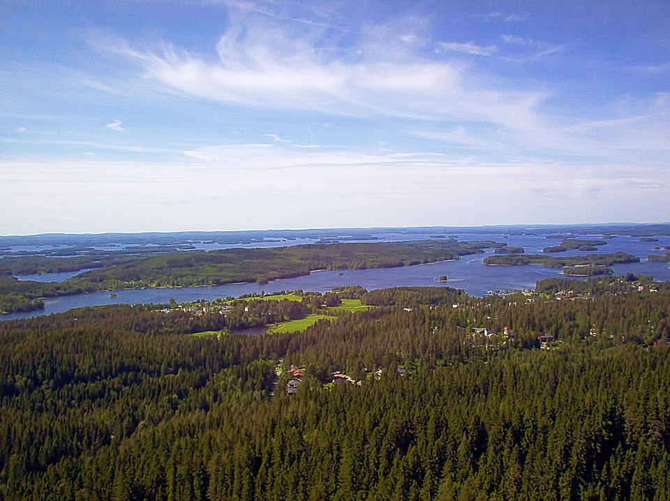 View, Forest, Trees, Lake, Island, Finnish, Sky, Clouds